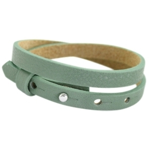 Lederarmband dark sea mist green doppelt